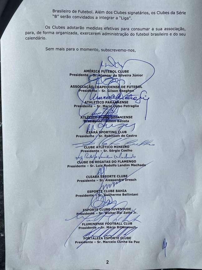 Os 20 clubes da Série A assinaram documento para criação da Liga