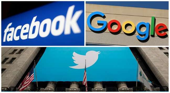 Logos das gigantes da tecnolgia Facebook, Google e Twitter. REUTERS/Arquivo