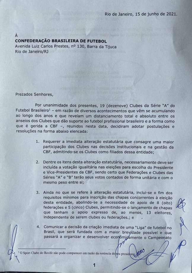 Documento firmando a criação da Liga dos times da Série A do Brasileirão
