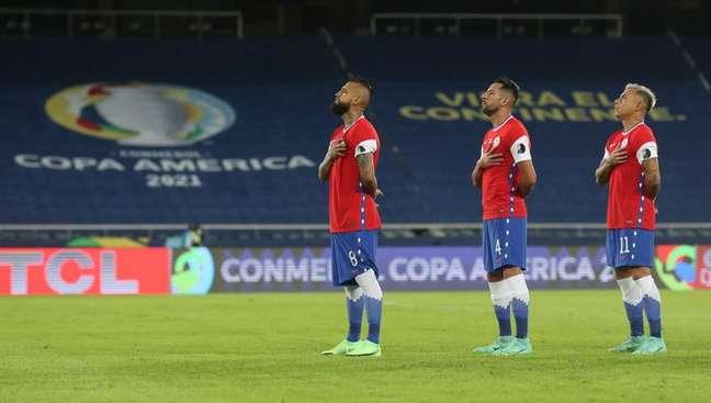 Jogadores do Chile na Copa América  14/6/2021  REUTERS/Ricardo Moraes