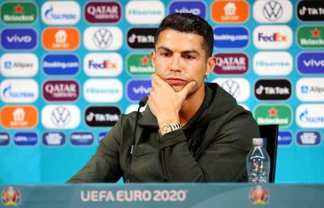 Cristiano Ronaldo durante entrevista coletiva em Budapeste 14/06/2021 UEFA/Divulgação via REUTERS