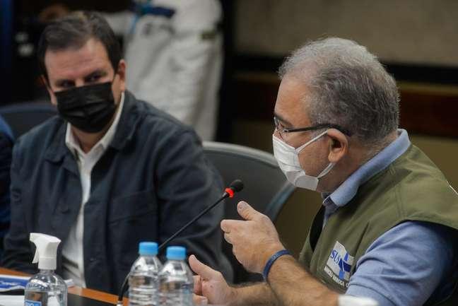 O prefeito Eduardo Paes recebe nessa manhã a visita do Ministro da Saúde, Marcelo Queiroga
