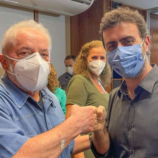 Lula e Marcelo Freixo durante encontro no Rio de Janeiro