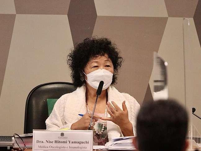 A médica Nise Yamaguchi depõe na CPI da Covid-19 no Senado Federal em Brasília (DF), nesta terça-feira (1), que investiga as ações e omissões dos governos federal e estadual, no combate a pandemia