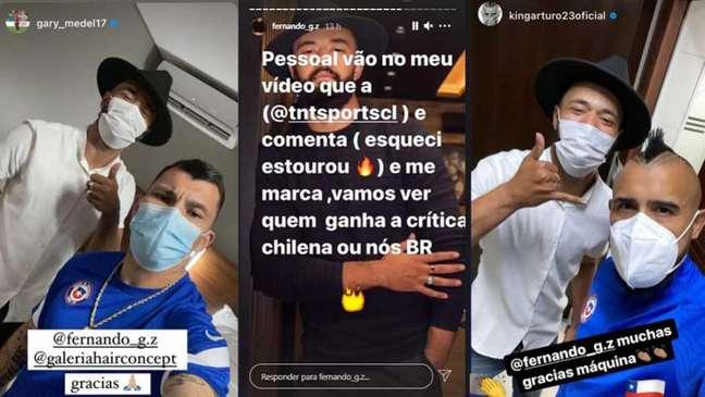 Presença do cabelereiro foi registrada pelos jogadores nas redes sociais (Montagem LANCE!)