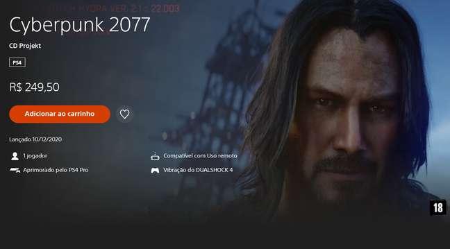 Cyberpunk 2077 na PSN Store brasileira