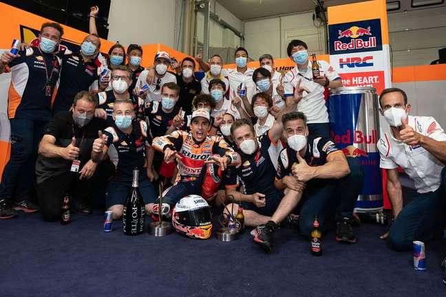 Marc Márquez fez muita festa com a Honda na Alemanha