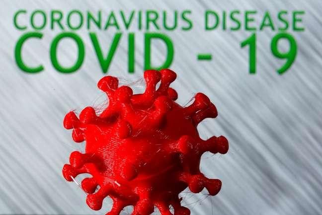 Modelo em 3D representando o coronavírus 25/03/2020 REUTERS/Dado Ruvic