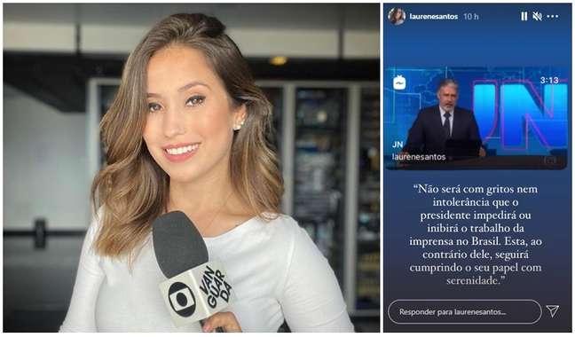A repórter Laurene Santos, insultada pelo presidente, e o trecho da nota lida no 'JN' em seu Instagram