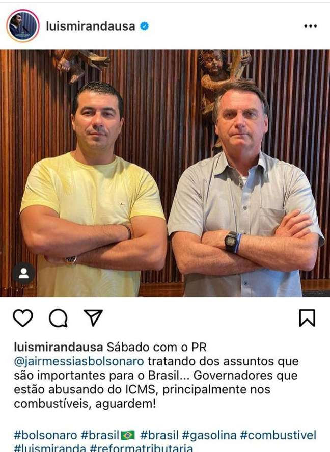 O deputado Luis Miranda publicou foto de encontro com Bolsonaro no dia 20 de março