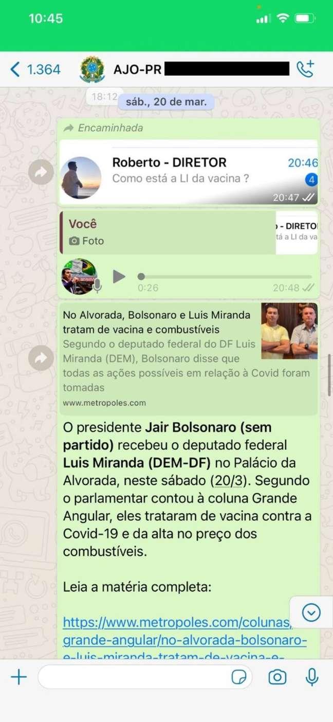 Troca de mensagens entre o deputadoLuis Miranda eajudante de ordem do presidente Jair Bolsonaro