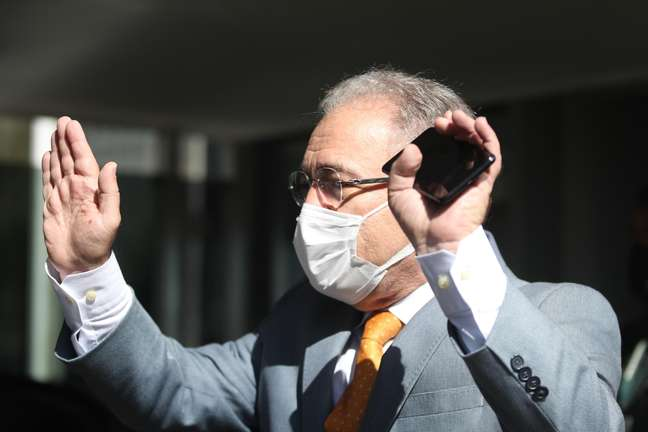 O ministro da Saúde, Marcelo Queiroga, durante coletiva de imprensa