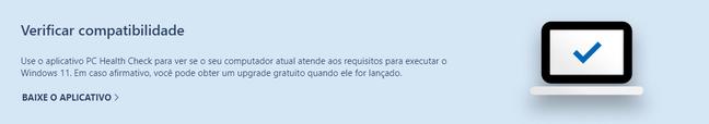 Tela de descrição do aplicativo PC Health Check, no site da Microsoft.