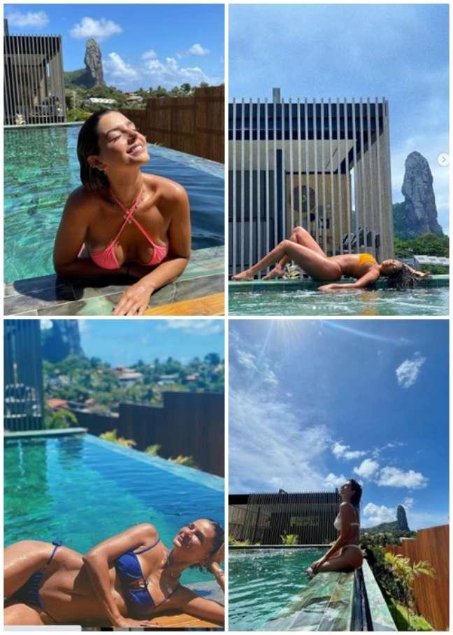 Giovanna Lancellotti, Ludmilla, Fernanda Motta e Fernanda Paes Leme na piscina da pousada, lugar preferido para fotos