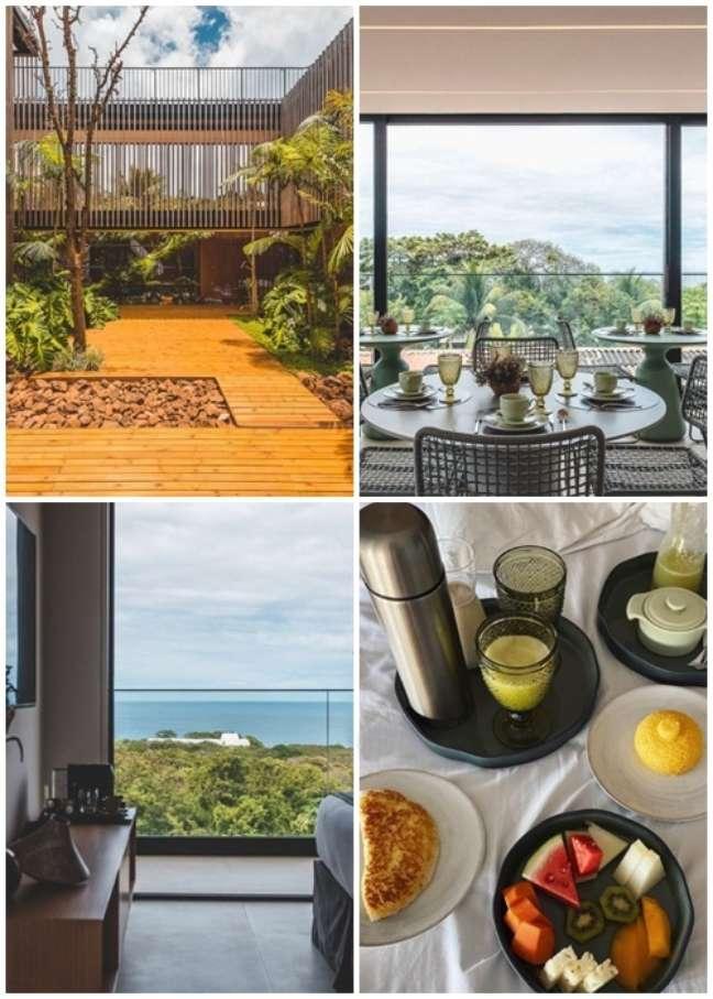 Jardim interno, restaurante com vista, suíte aberta ao mar e o café da manhã servido na cama da hóspede Bruna Marquezine