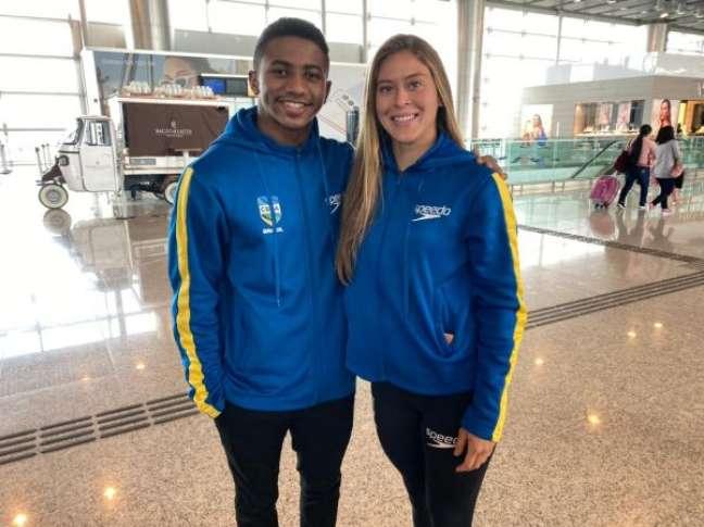 Isaac Souza e Luana Lira, integrantes da equipe de saltos ornamentais do Brasil