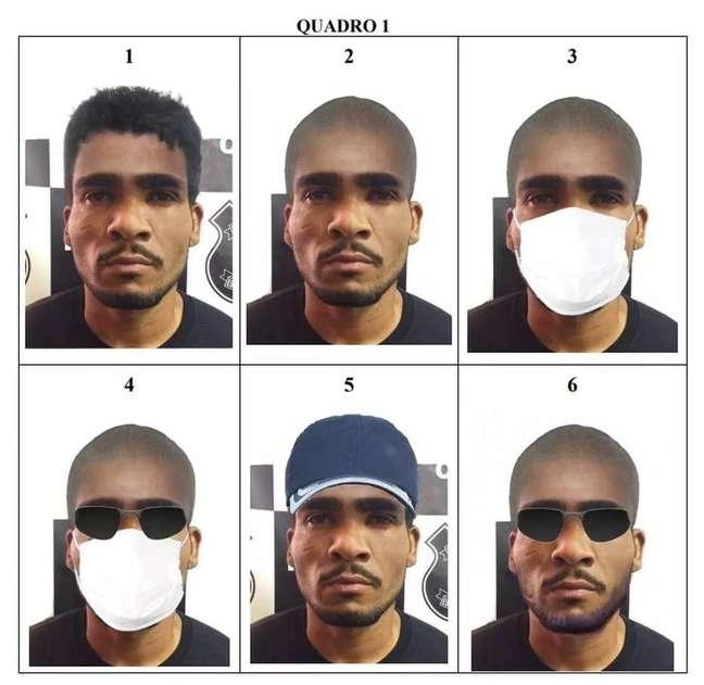 Montagem com possíveis disfarces de Lázaro Barbosa divulgada durante as buscas