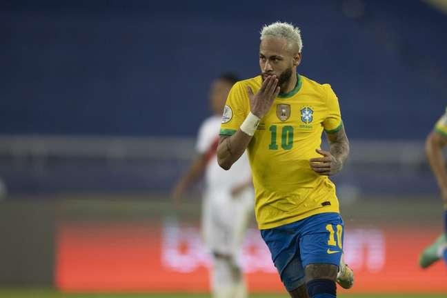Neymar contra o Peru pela segunda rodada da Copa América Lucas Figueiredo/CBF