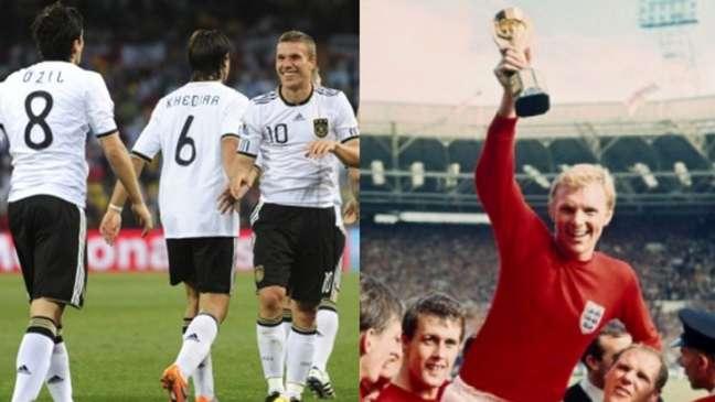 Alemães e ingleses protagonizaram momentos marcantes (Montagem Lance! Fotos: AFP)