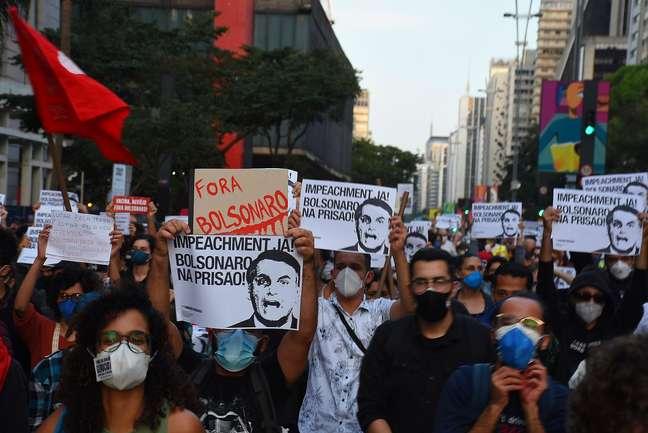 Protesto contra o Presidente Jair Bolsonaro, realizado na cidade de Paulista, na cidade de São Paulo