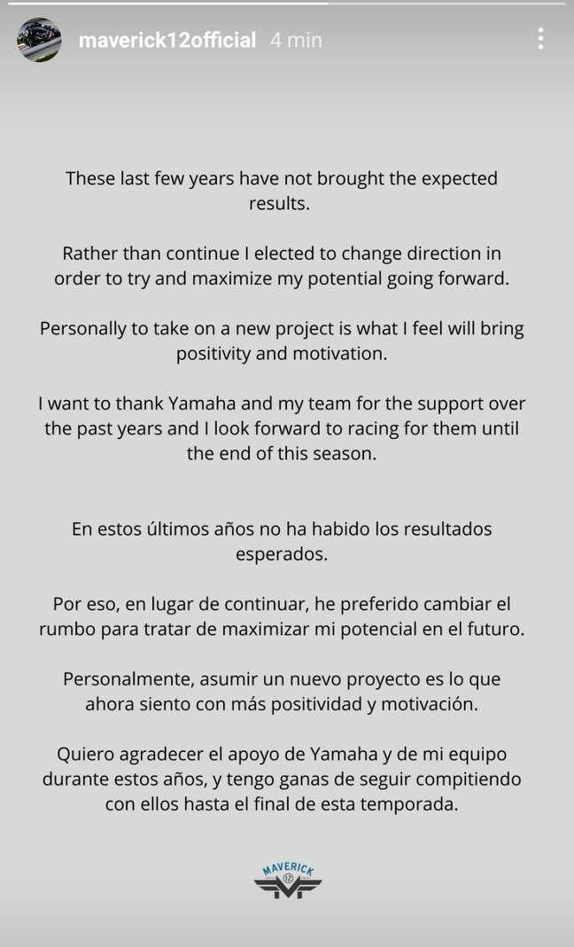 Maverick Viñales falou pela primeira vez no Instagram após anúncio da saída da Yamaha