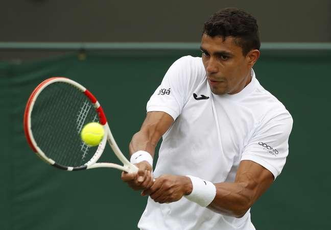 Thiago Monteiro durante a sua última participação em Wimbledon; ele agora disputará a sua primeira Olimpíada REUTERS/Paul Childs