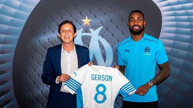 Gerson foi apresentado ao Olympique Marseille no dia 1º de julho (Divulgação/Olympique de Marselha)