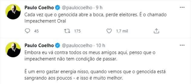 Paulo Coelho criticou Bolsonaro no Twitter