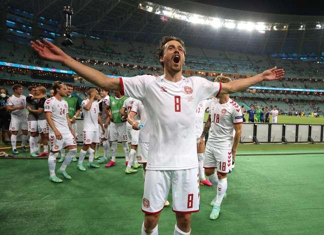 Thomas Delaney comemora classificação da Dinamarca