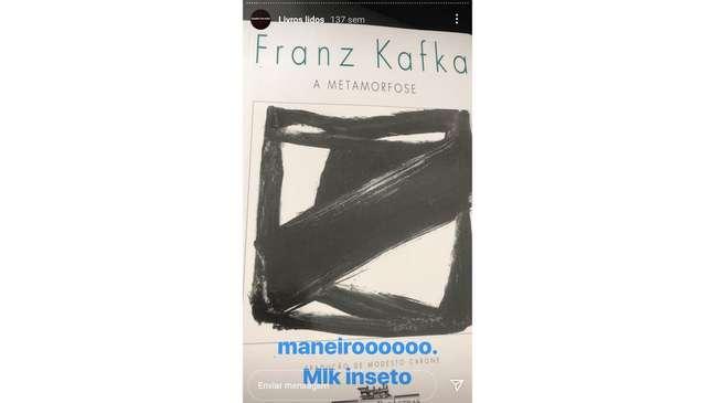 """A """"crítica"""" que fez mais sucesso entre os seguidores de Scarpa nas redes sociais foi a de Metamorfose, de Franz Kafka"""