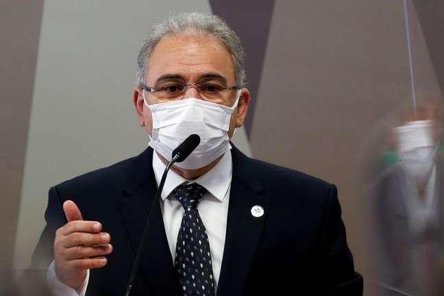 Ministro da Saúde, Marcelo Queiroga, durante sessão da CPI da Covid no Senado REUTERS/Adriano Machado