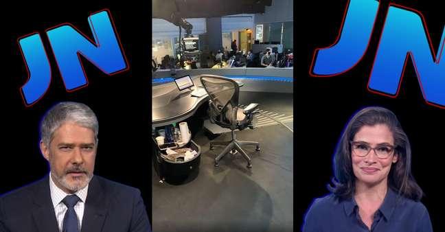 Bonner e Renata têm o seu 'cantinho da bagunça' escondido das câmeras do estúdio