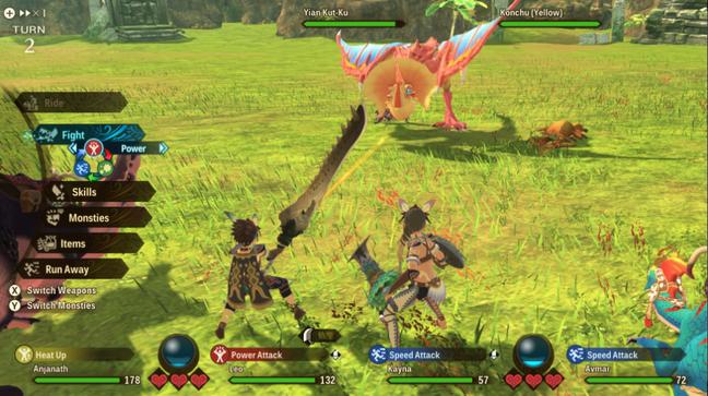 Combate por turnos em Monster Hunter Stories 2