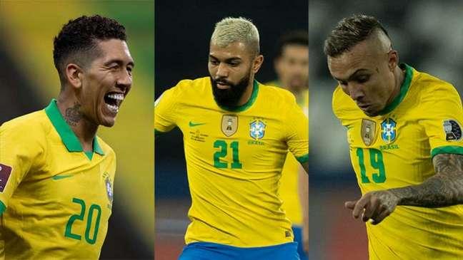 Firmino, Gabigol ou Everton 'Cebolinha': alguns dos concorrentes no ataque da Seleção (Montagem LANCE!)