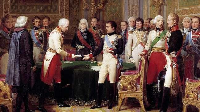 Napoleão recebendo o embaixador da Áustria , Barão Vicente. No meio, vê-se Talleyrand, que ocupou o cargo de ministro das Relações Exteriores de Napoleão