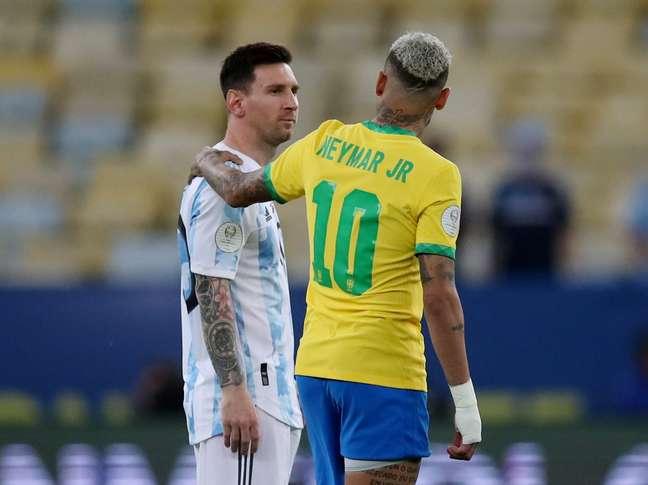 Neymar e Messi na final da Copa América