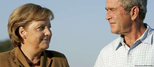 Merkel em visita ao rancho de Bush no Texas, em 2007