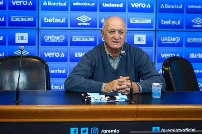 Felipão reestreou no comando do Grêmio contra o Inter, no sábado (Lucas Uebel/Grêmio FBPA)