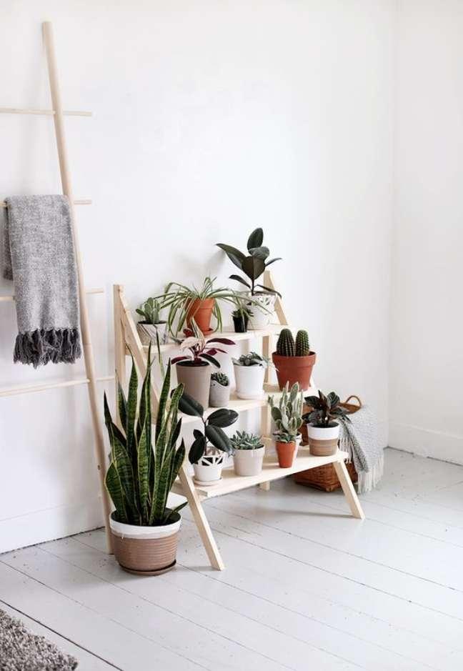39. Estante cavalete de madeira com plantas para sala de estar – Foto Curly Hair And Lipsticks