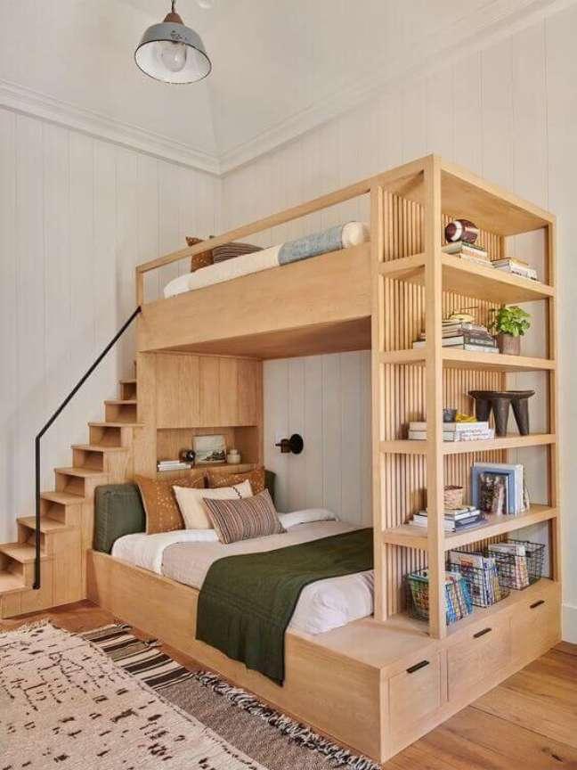 23. Enfeites para estante de beliche de madeira – Foto Revista Vd