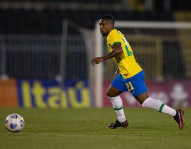 Malcom em jogo com a camisa da Seleção Brasileira Reprodução/Twittter CBF
