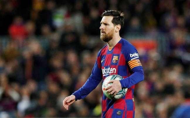 Messi em jogo pelo Barcelona Albert Gea/Reuters