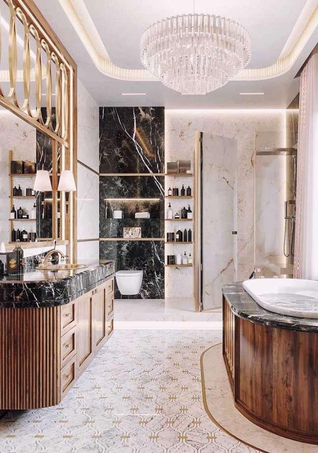 54. Lustre de cristal para banheiro de luxo grande decorado com mármore preto – Foto: Architecture Art Designs
