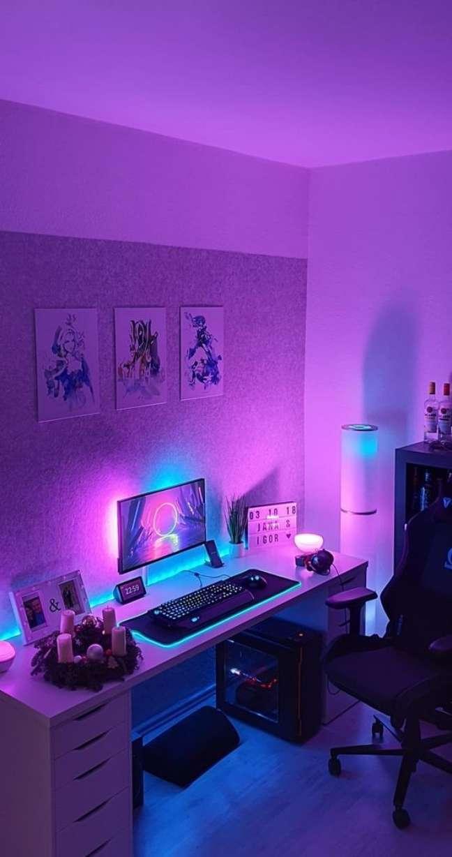 34. Quarto gamer com luz neon – Foto Vamos Mamães