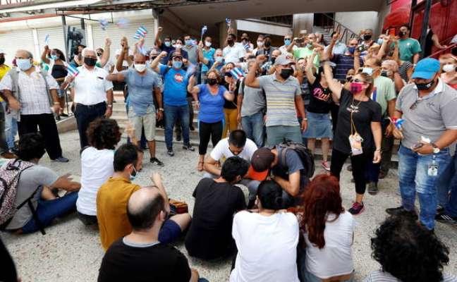 Protesto contra o governo de Cuba na capital Havana