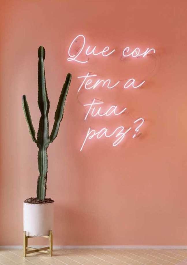 7. Luminária com luz neon na sala de estar criativa decorada com plantas – Foto Pinterest