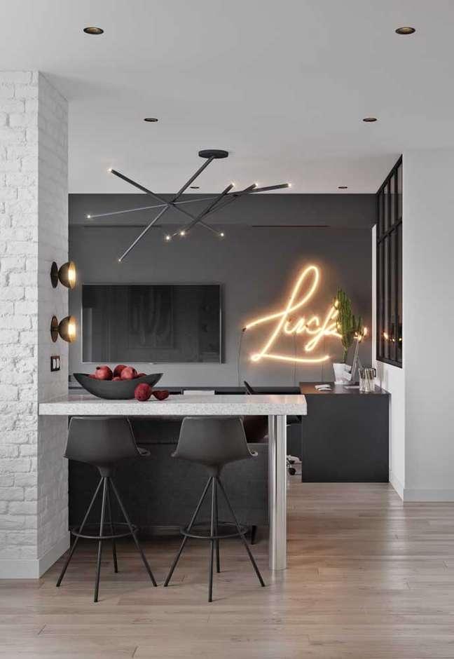 18. Luz neon na cozinha americana – Foto Pinterest