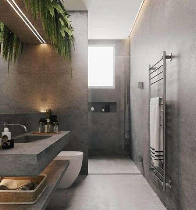 22. Cimento queimado para decoração de banheiro grande moderno – Foto: HDR