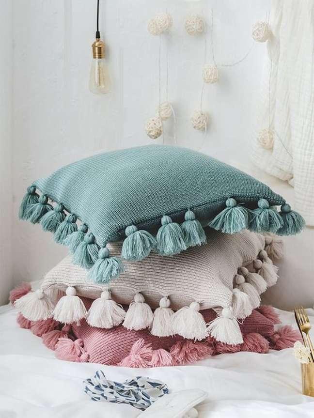 14. Tecido para almofada azul rosa e bege – Foto Shein