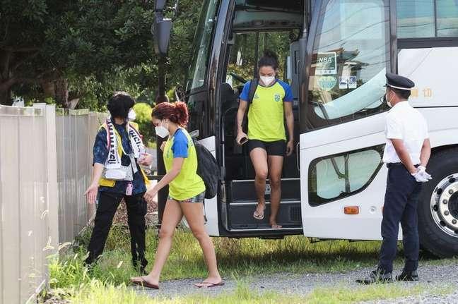 Equipe olímpica de judô do Brasil chega para treinamento em ginásio em Hamamatsu, no Japão 15/07/2021 REUTERS/Kim Kyung-Hoon
